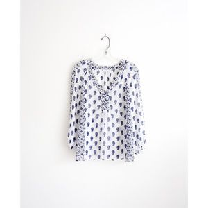 Joie White Blue Paisley Sheer Silk Luciano Top